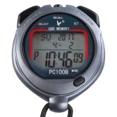 Three Rows 100 Memories Handed Sport Stopwatch with Countdown Alarm Pacer Time Temperature Display