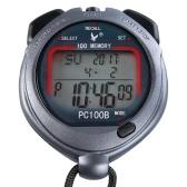 Спортивный секундомер с тремя рядами на 100 воспоминаний с будильником обратного отсчета Время и температура Отображение температуры