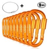 Juego de clips de mosquetón de cierre de anilla D-ring de aleación de aluminio, paquete de 9