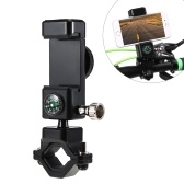 Soporte para teléfono de bicicleta Soporte ajustable para teléfono de montaje en bicicleta Soporte de teléfono giratorio 360 ° con luz y brújula