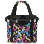 Collapsible Bike Basket Flower Printed Small Pet Cat Dog Carrier Bag Detachable Bicycle Handlebar Front Basket Cycling Front Bag Handbag
