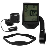 Cycling Wireless Computer with Heart Rate Sensor Multifunctional Rainproof Cycling Computer with Backlight LCD