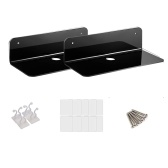 Floating Shelves Wall Mounted Set of 2 with Cable Clips Easily Expand Wall Space Acrylic Hanging Shelves for Bedroom Bathroom Gaming Room Living Room Office