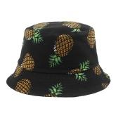 Шапка-ведро с ананасом, двусторонняя упаковываемая шапка с широкими полями для рыбака для путешествий на пляже