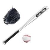 Conjunto de bolas de beisebol Taco de beisebol + beisebol + luvas de beisebol Taco de beisebol de liga de alumínio de 25 pol. Luva de beisebol de 10.5 pol.
