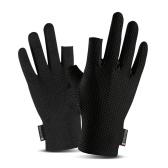 Kühlende Angelhandschuhe Rutschfeste Angelhandschuhe mit 2 atmungsaktiven elastischen Outdoor-Handschuhen ohne Fingerdesign