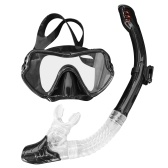 Snorkeling Set Wide View Diving Mask Dry Top Snorkel Set Big Frame Watertight and Anti-Fog Lens for Best Vision Underwater Hunting Snorkeling Spearfishing Fishing Full Diving Mask