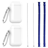 2pcs/set Reusable Silicone Collapsible Straws Bar Accessories