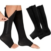 2 Pair Compression Socks Zipper Leg Calf Sleeves Toeless for Running Hiking Climbing Driving Standing Flight Swelling Pain Relieve