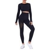 Conjunto de ioga de duas peças feminino corte manga comprida cintura alta bodycon oco para fora listrado esportivo leggings para treino de ginástica