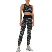 Women Camouflage Yoga Set 2-Piece Bra Tights Suit Crop Top High Waist Leggings Sports Wear