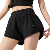 Women Running Shorts 2-in-1 with Pocket Wide Waistband Compression Liner Lounging Sport Yoga Leggings Fitness Workout Athletic Gym Home Sportswear