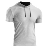 Men Summer Sports T-Shirt Solid Color Hooded Short Sleeve Drawstring Quick-Dry Breathable Running Gym Sportswear