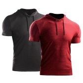 2PCS Men Summer Sports T-Shirt Solid Color Hooded Short Sleeve Drawstring Quick-Dry Breathable Running Gym Sportswear