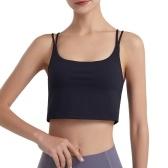 Sutiã Esportivo Feminino Esparguete Cruzado Esparguete Sem Fio Acolchoado Ginásio Ioga Dança Esporte Camiseta Regata