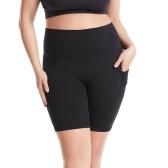 Pantalones de yoga para mujer con bolsillos Leggings deportivos de cintura alta Medias Entrenamiento físico Correr Ciclismo Pantalones ajustados ajustados a la mitad Pantalones cortos para gimnasio Calles caseras