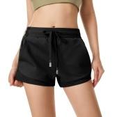 Pantalones cortos deportivos para mujer, de secado rápido con malla, cintura elástica, bolsillos, cintura alta, gimnasio, entrenamiento, yoga