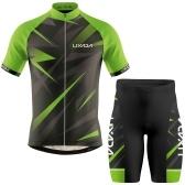 Camisa de manga curta respirável masculina de ciclismo Lixada masculina e shorts acolchoados MTB bicicleta terno
