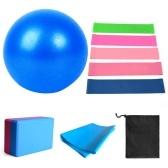 11pcs Yoga Ball Set with Yoga Block Resistance Bands Fitness Stretching Strap Yoga Pilates Equipment