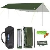 3x6m Markise Wasserdichter Tarp-Zelt-Schatten mit Stange klappbarer Camping-Überdachung Ultraleichter Strand-Sonnenschutz für Camping, Wandern und Überlebensschutz