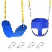 High Back Full Bucket Toddler Swing and Heavy Duty Swing Set with EVA Seats Plastic Coated Chain Snap Hooks and Carabiners Playground Swing Seat Combo