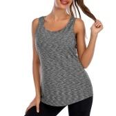 Frauen ärmelloses Rundhals-Trainings-Tanktop mit integriertem BH Activewear für Yoga Laufsport Fitness