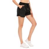 Damen Laufshorts 2 in 1 Yoga Gym Sport Training Sportliche Shorts mit 2 Taschen