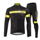 Lixadaメンズウィンターサーマルフリースサイクリングウェアセット長袖ウィンターサイクリングジャージーコートジャケット(3Dパッド付きパンツズボン付き)
