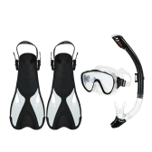 Snorkeling Combo Set Goggles Mask Snorkel Tube Fins with Gear Bag for Men Women Swimming Scuba Diving Travel