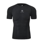Männer, die Training kurzes T-Shirt laufen lassen Hohes elastisches festes schnell trocknendes saugfähiges Hemd Weiche Kompressions-Eignungs-Sportkleidung