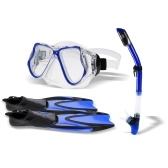 Snorkel Gear Set Snorkel Tube Fin Tempered Diving Mask per adulti