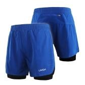 Pantalones cortos para correr 2 en 1 para hombre de Lixada Secado rápido Ejercicio de entrenamiento activo y transpirable Pantalones cortos de ciclismo para correr con un forro más largo