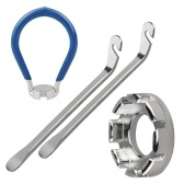 Paquete de 4 herramientas para radios de bicicleta Llave de radios de bicicleta Herramienta de bolsillo 6 en 1 Herramienta de ajuste de llanta de bicicleta Herramienta correcta con palanca de neumático