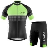 Conjunto de malha masculina de ciclismo Lixada, de secagem rápida respirável, camiseta de manga curta e shorts acolchoados de espuma Conjunto de roupa de ciclismo para BTT