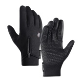 Мужские и женские зимние велосипедные перчатки с тремя пальцами, флисовые ветрозащитные водонепроницаемые теплые теплые спортивные перчатки с сенсорным экраном