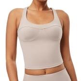 Женская майка для йоги с подкладкой, быстросохнущая, удобная для кожи, спортивный бюстгальтер с перекрестными ремешками на спине, рубашка, спортивная одежда