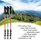 La fibra de carbono ligero Trekking Polo telescópica ajustable Bastón 3 Sección Senderismo