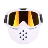 レンズオートバイゴーグルマスクモトクロスフェイスマスクメガネ取り外し可能ヘルメットゴーグル防風防塵屋外