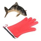 1 PCS Guantes antideslizantes de goma para pescar con cuerda elástica y mosquetón