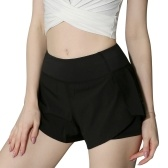 Women  2 in 1 Running Shorts High Waist Yoga Shorts