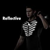 反射トップTシャツをランニングメンズ半袖コンプレッションシャツスポーツフィットネスボディービルジム