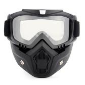 モーターサイクリングゴーグルUVA400保護ウィンタースキーゴーグルライディングスケートスポーツゴーグル取り外し可能なマスク付き