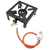 Anel de ebulição a gás 8KW Queimador de ferro fundido Grande fogão a GLP Fogão ao ar livre com estrutura de ferro Fogão portátil de controle de fogo