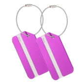 2Pcs Metal Aluminum Alloy Travel Airlines Suitcase Luggage Bag Identifier Tags Tag Labels Bag ID Address Name Identity Holder Keyring
