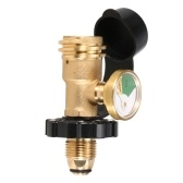 Lixada Propane Tank Adapter Solid Brass Regulator Valve Safety POL Tank Convert to QCC1/Type1 Regulator Hose with Gauge Indicator