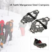 14 dientes de manganeso crampones de acero correa de nylon antideslizante cubierta de los zapatos al aire libre del esquí de la nieve de hielo Dispositivo de senderismo