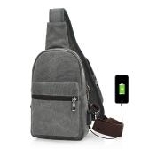 Рюкзак с холстом Sling с USB-портом для зарядки и отверстиями для наушников Повседневная сумка для переноски сундуков