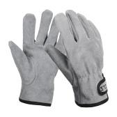 Campinghandschuhe Rindsleder Lederhandschuhe Hitze- / feuerfeste Fäustlinge Warme Handschuhe für den Grillofen im Freien