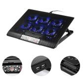 NUOXI USB Laptop Cooler Chłodzenie notebooka 6 wentylatorów chłodzących Regulacja wysokości Niebieska dioda LED dla laptopa 12-17 cala