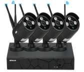 KKmoon 4 canais Wireless WiFi NVR CCTV System Kit + 4pcs HD 720P Wi-Fi Outdoor Weatherproof Bullet IP Camera Suporte P2P IR Night Vision para Android / iOS Aplicação Detecção de movimento para CCTV Security Surveillance System